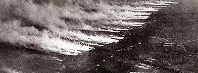 """La """"guerre des gaz"""" dans les tranchées (source : wikipédia)"""