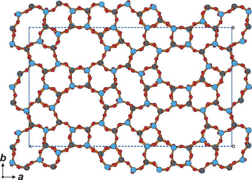 En bleu ou vert, les atomes de silice ou de phosphore, au centre des tétraèdres dont les sommets sont des oxygènes (source)
