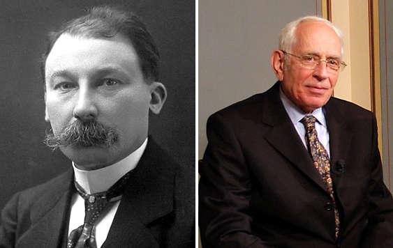 A gauche : Victor Grignard : prix Nobel 1912 pour ses travaux sur les organomagnésiens A droite : Yves Chauvin, prix Nobel 2005 sur la réaction de métathèse