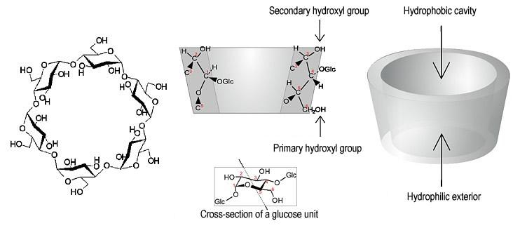 schémas généraux des cyclodextrines, sorte de couronnes composés d'unités glucose reliées entre elles...