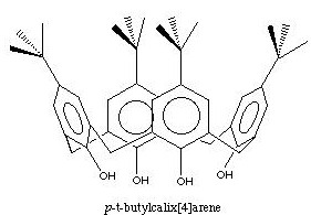 un exemple de calixarène. Un ion, une petite molécule peut se loger au centre de la molécule en forme de... calixe