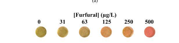 Couleur de la pastille de polymère en fonction de la concentration en furfural dans l'échantillon
