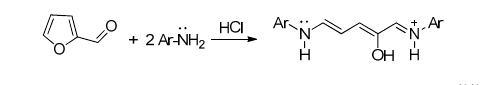 A gauche, le furfural, réagissant avec deux amines aromatiques ( Ar-NH2), donnant les composés colorés à droite